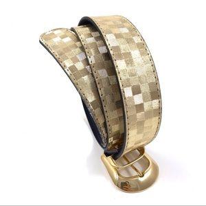 VTG gold woven checkered fabric belt